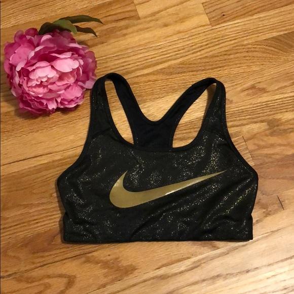 black and gold nike sports bra